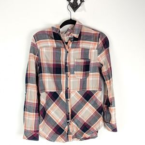 Anthropologie Holding Horses Seamed Plaid XS Shirt